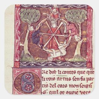 Blind goddess Fortune with King Arthur Square Sticker
