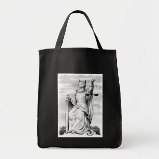 Blind Justice Cat Grocery Tote Bag