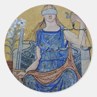 Blind Justice Round Medallion Mosaic Classic Round Sticker