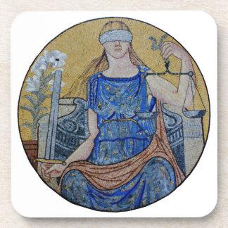 Blind Justice Round Medallion Mosaic Drink Coaster