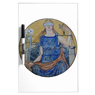 Blind Justice Round Medallion Mosaic Dry-Erase Board
