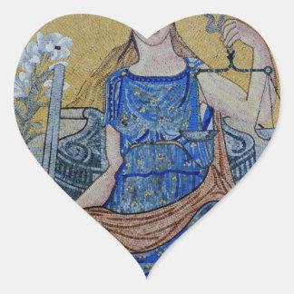 Blind Justice Round Medallion Mosaic Heart Sticker