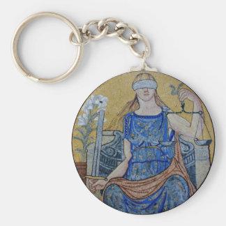 Blind Justice Round Medallion Mosaic Keychains