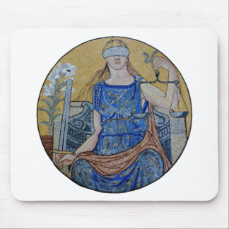 Blind Justice Round Medallion Mosaic Mouse Pad