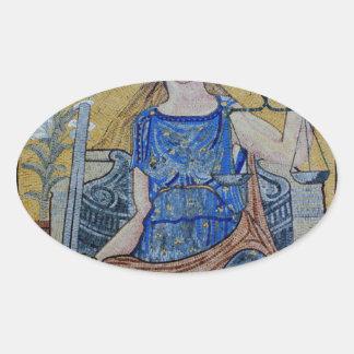 Blind Justice Round Medallion Mosaic Oval Sticker