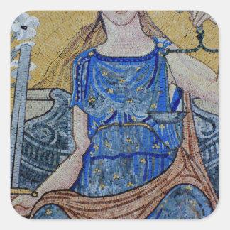 Blind Justice Round Medallion Mosaic Square Sticker