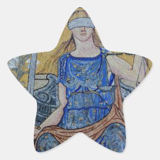 Blind Justice Round Medallion Mosaic Star Sticker