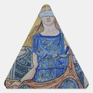 Blind Justice Round Medallion Mosaic Triangle Sticker