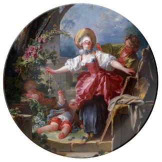 Blind-Man's Bluff by Jean-Honore Fragonard Porcelain Plates