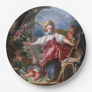 Blind-Man's Bluff by Jean-Honore Fragonard 9 Inch Paper Plate