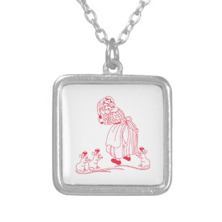 Blind Mice Redwork Square Pendant Necklace