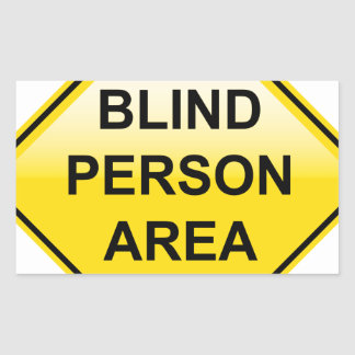 Blind Person Area sign Rectangular Sticker