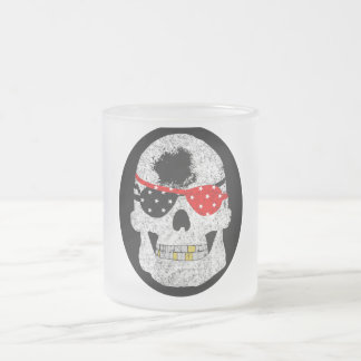 Blind Pirate Skull Frosted Glass Coffee Mug