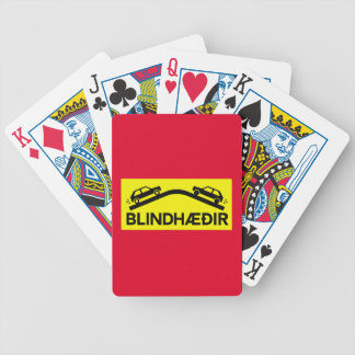 Blind Rises, Traffic Sign, Iceland Bicycle Playing Cards
