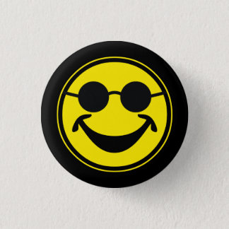 Blind Smiley yellow + your backg. & ideas Pinback Button
