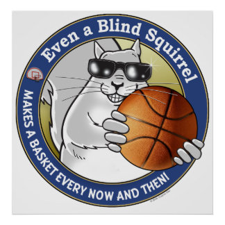 Blind Squirrel Basketball Poster