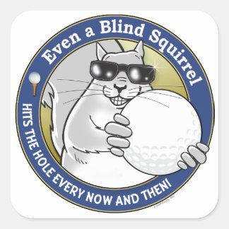 Blind Squirrel Golf Square Sticker