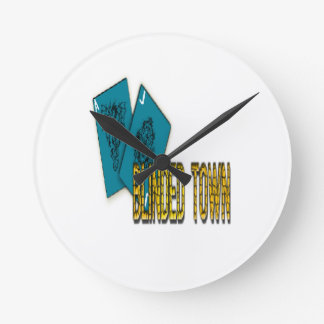 Blinded Town Round Clock