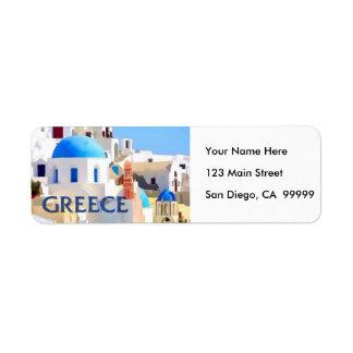 Blinding White Buildings in Greece Label