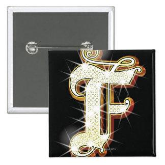 Bling alphabet F Pinback Button