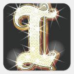 Bling alphabet I Square Stickers