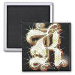 Bling alphabet K 2 Inch Square Magnet