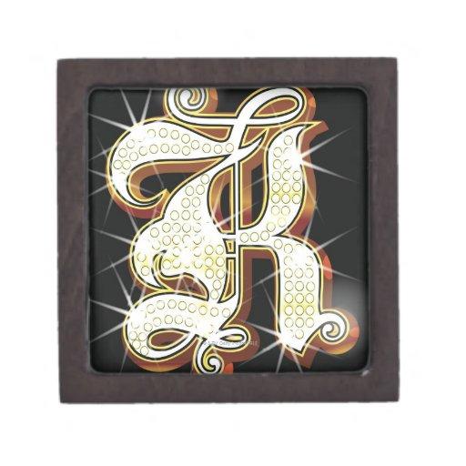 Bling alphabet K Keepsake Box