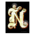 Bling alphabet N Post Cards
