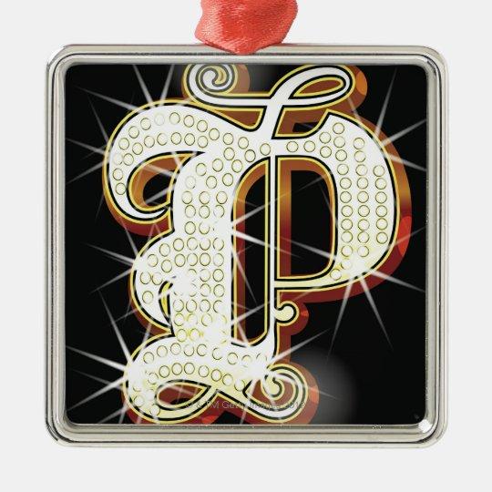 Bling alphabet P Metal Ornament