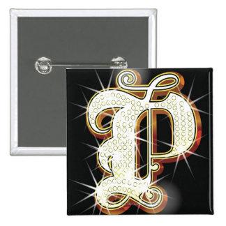 Bling alphabet P Pinback Button