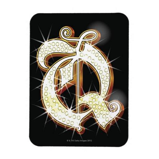 Bling alphabet Q Rectangular Photo Magnet