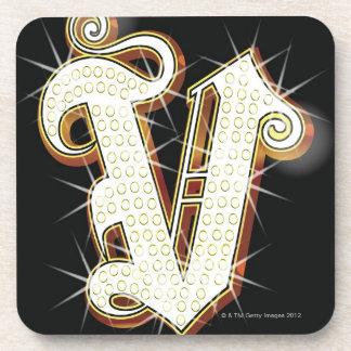 Bling alphabet V Beverage Coasters