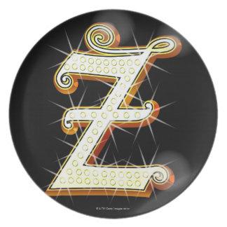 Bling alphabet Z Dinner Plate
