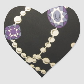 Bling and Pearls Heart Sticker