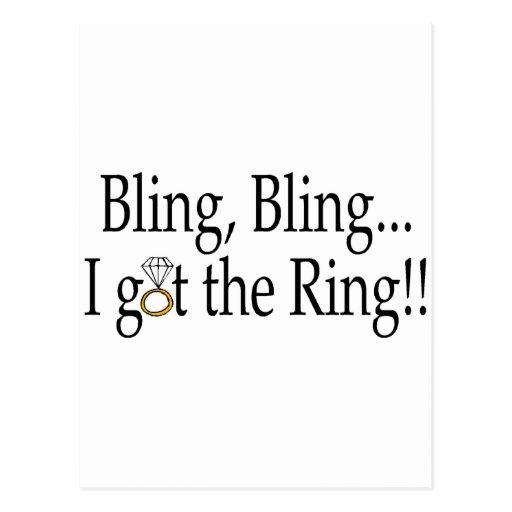 Bling Bling, I Got The Ring Postcard