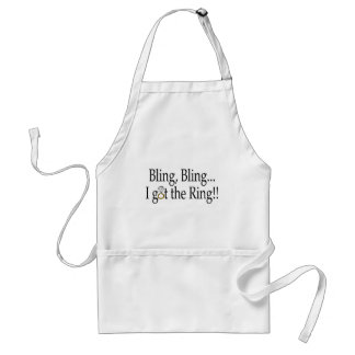 Bling Bling I Got The Ring Wedding Engagement Adult Apron