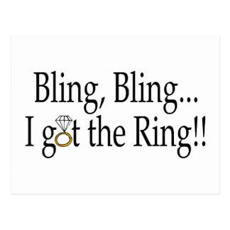 Bling Bling I Got The Ring Wedding Engagement Postcard