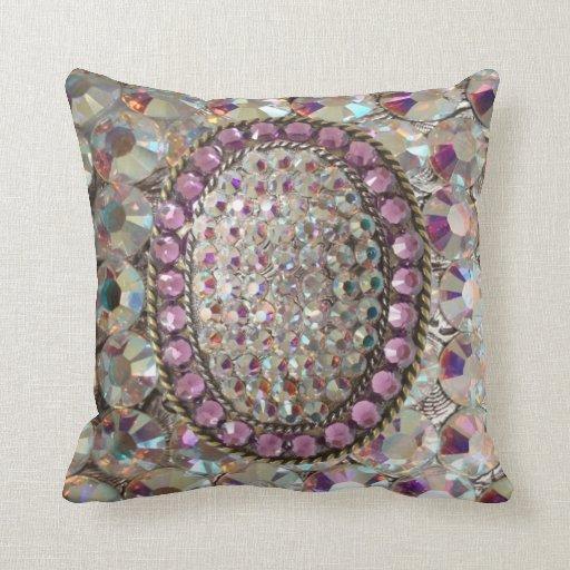 BLING BLING Iridescent Rhinestone Pillow Zazzle