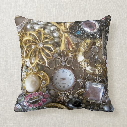 bling bling jewelry collection throw pillow Zazzle