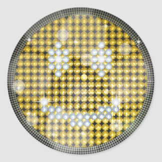 BLING BLING SMILEY CLASSIC ROUND STICKER