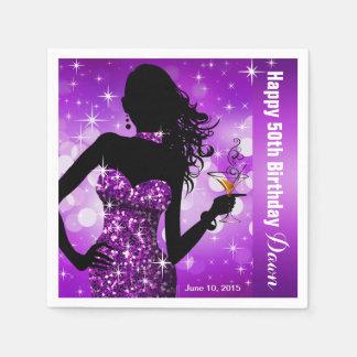 Bling Bombshell Sparkle Birthday Party   purple Napkin