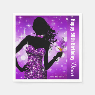 Bling Bombshell Sparkle Birthday Party | purple Standard Cocktail Napkin