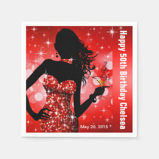 Bling Bombshell Sparkle Birthday Party | red Paper Napkin
