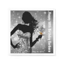 Bling Bombshell Sparkle Birthday Party | silver Paper Napkin