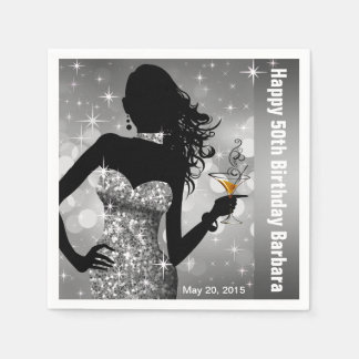 Bling Bombshell Sparkle Birthday Party   silver Paper Napkin