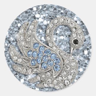 bling- cute swan classic round sticker