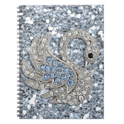 bling- cute swan notebook