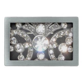 Bling Diamond Jewel on Black Velvet Belt Buckle