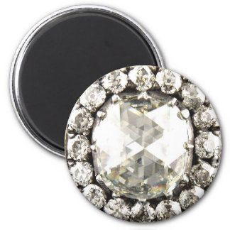 Bling Diamond Rhinestone Vintage Costume Jewelry 2 Inch Round Magnet