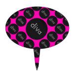 Bling Diva Polka-Dot pink/black Cake Picks